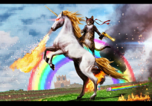 A cat riding an Unicorn, in front of a rainbow,carrying a rocket launcher and and an explosion in the background. Oh, and the Unicorn breaths fire.